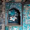 BUNDI. RAJASTHAN. FADING BLUE PAINTINGS INSIDE THE ROYAL PALACE.