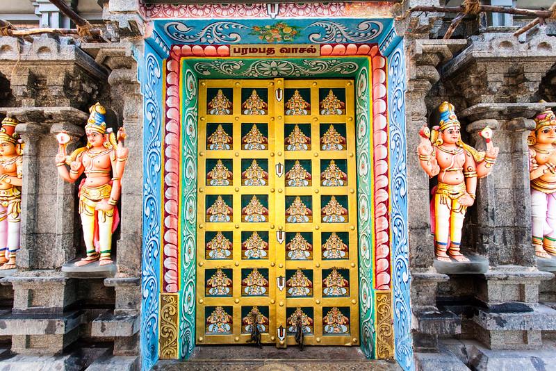 TRICHY. TIRUCHIRAPPALLI. TAMIL NADU. SRI RANGANATHASWAMY TEMPLE. RICH DECORATED DOORS.