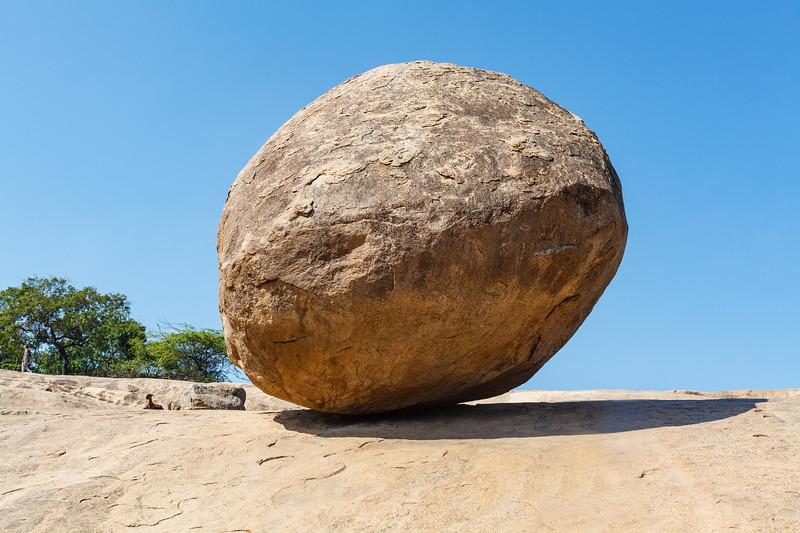 Krishna's Butter Ball, a huge boulder in Mamallapuram, Tamil Nadu, India, Asia
