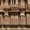 JAISALMER. RAJASTHAN. PATWA-KI-HAVELI. OLD WOOD CARVINGS.