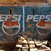 JAISALMER. RAJASTAHAN. PEPSI LOGO PAINTED ON THE WALL.