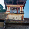 Clocktower on top of an old colonial building at the entrance road to the Sri Padmanabhaswamy Temple (Sree Padmanabhaswamy Temple), in Thiruvananthapuram (Trivandrium) in Kerala, South India, Asia