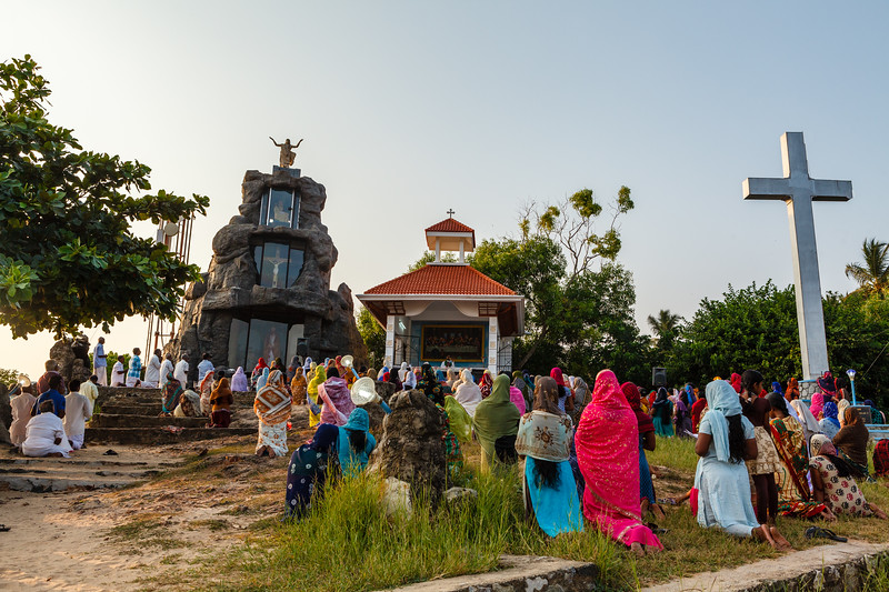 Open air church on the beach in Kovalam, Kerala, South India, Asia