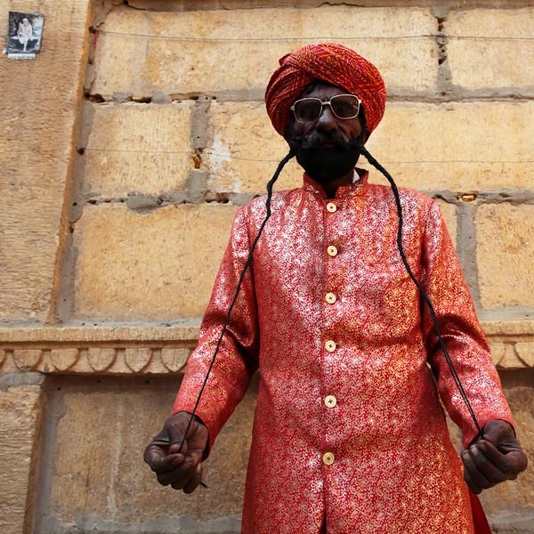 JAISALMER'S LONGEST MOUSTACHE. JAISALMER. RAJASTHAN. INDIA.