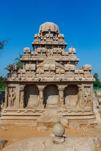 Exterior of the Dharmaraja Ratha, one of the Pancha Rathas (Five Rathas) of Mamallapuram, an Unesco World Heritage Site in Tamil Nadu, South India