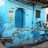 BLUE HOUSE WITH BIKE. BUNDI. RAJASTHAN. INDIA.