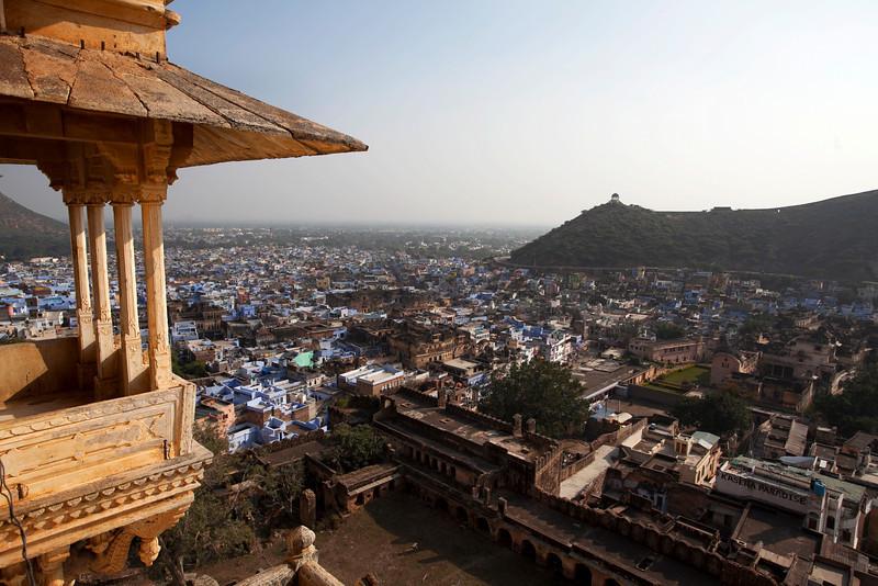 BUNDI. VIEW AT THE CITY OF BUNDI FROM THE PALACE. RAJASTHAN. INDIA.