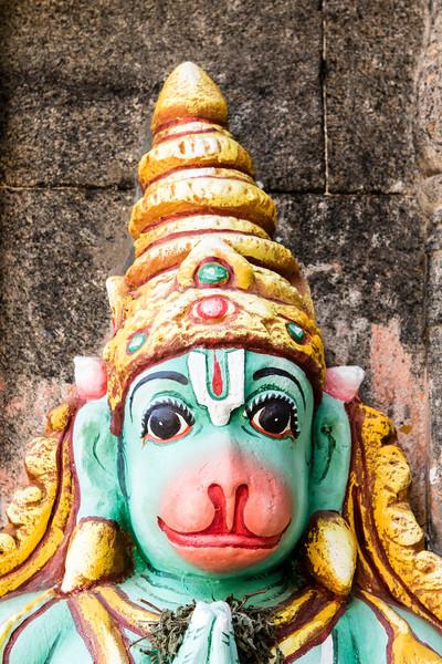 TRICHY. TIRUCHIRAPPALLI. TAMIL NADU. SRI RANGANATHASWAMY TEMPLE. STATUE OF HINDU GOD HANUMAN.