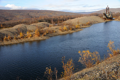 Historic Alaska Gold Dredge in Fall - Fairbanks - Alaska