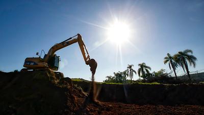 Cat excavator working in Brazil