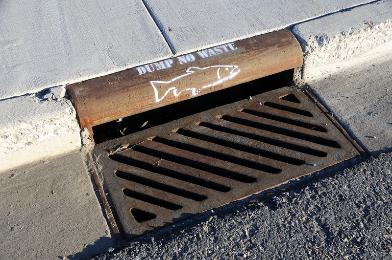 No Dumping Painted Storm Drain Sign
