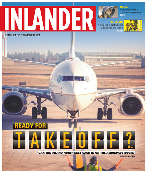 Pacific Northwest Inlander aerospace cover story. Issue date: Thursday, December 5, 2013. Art Director: Chris Bovey. Photographer: Young Kwak. Photographed at Spokane International Airport, in Spokane, Wash.
