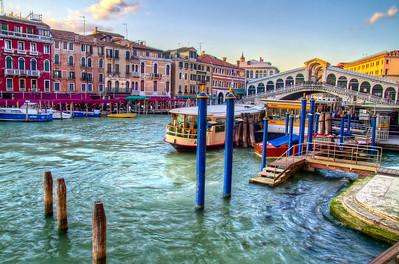 Sunset in Venice, Italy by the Rialto Bridge.