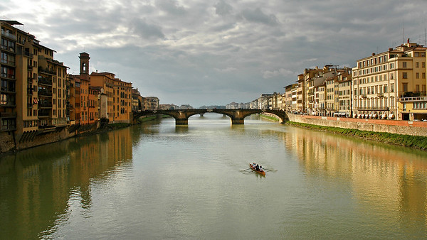 Sculling on the Arno River, Florence, Italy