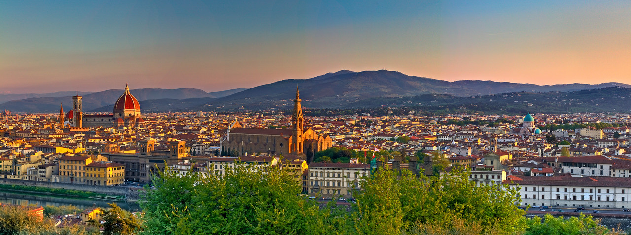 Panoramic view of Florence at sunrise