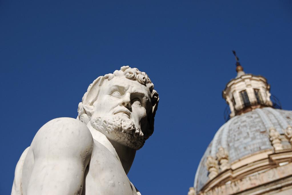 Piazza Pretoria, Palermo.<br /> The fountain (circa 1554) by Francesco Camilliani