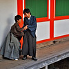 YOUNG MONKS PLAYING IN MONASTERY. MIYAJIMA. HIROSHIMA. JAPAN.