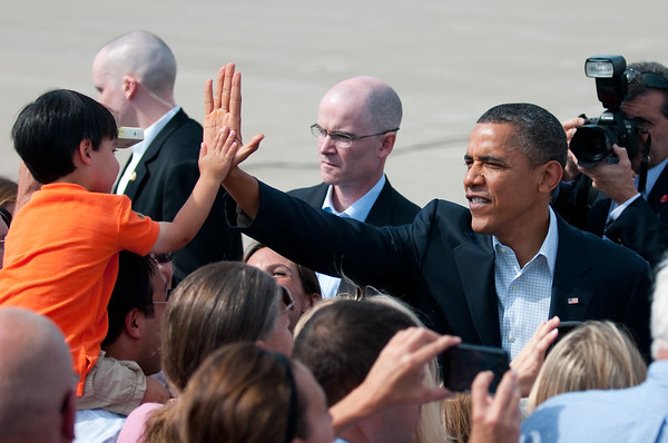 Day 344 -This one was taken at my part time job with the Air National Guard.  Since it is an official photo I've decided to include the official caption.  Hopefully written better than my usual gobbely gook.  MINNEAPOLIS/ST. PAUL INTERNATIONAL AIRPORT -President Barrack Obama gives a high-five to a child after arriving here today as he greeted the crowd that consisted of members of the 133rd Airlift Wing and invited guests .  Obama arrived here to start a three-day bus tour through Minn., Iowa, and Ill.