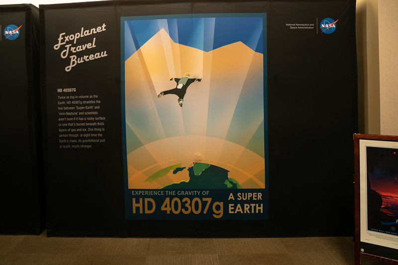 Travel poster, part of the exoplanet exhibit at JPL