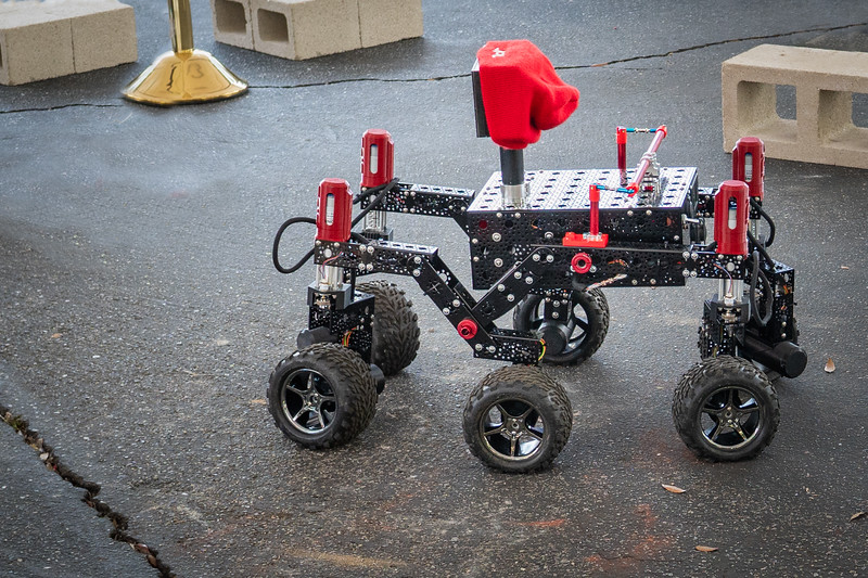 JPL robot with a fetching red cap.