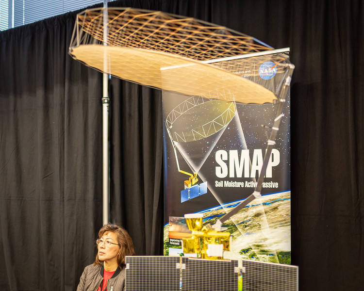 Model of the SMAP satellite, on display at the JPL Open House