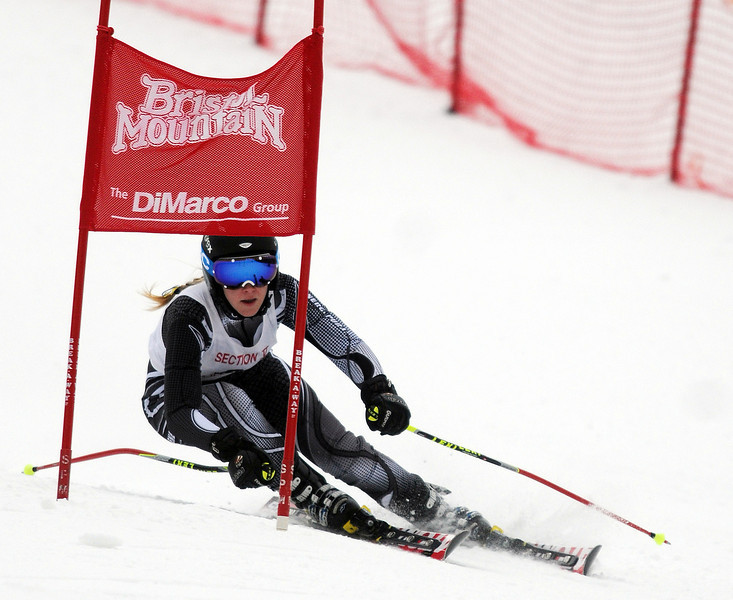 Jack Haley/Messenger Post<br /> Emily Wilson of Pittsford Sutherland makes his first run in the Giant Slalom on Wednesday at Bristol Mountain.