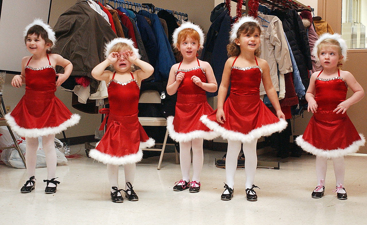 "prekdancersJH1B - Pre-K dancers from ""Dance Arts with Judy Gillotte Drew"", (L-R) - Kate Billow, Mary Kathryn Moore, Maggie Galewski, Alaina Andre, and Emily Galewski perform for seniors at a luncheon put on by the Victor Parks and Recreation Offices on Wednesday."
