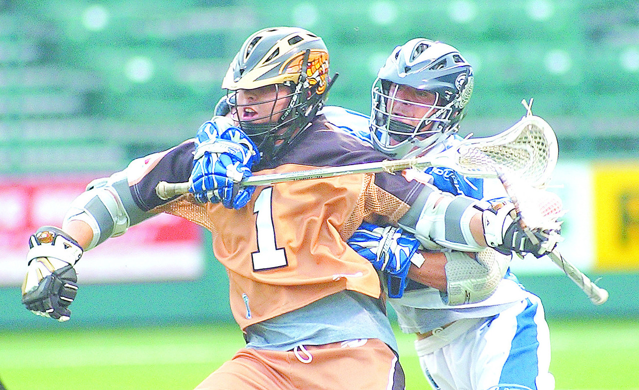 rattlersJH - Joe Walter of the Rochester Rattlers and an Irondequoit graduate gets closelined by by Kevin Boland of the Washington Bayhawks during their game on Saturday. Walters had three first half goals as Rochester posted a 10-3 first half lead before postiing the win.