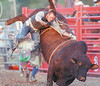 JH Bull Riding 1 - Joel Baxter of Dansville gets thrown from the bull he tried to ride on Thursday during the Bull Riding competition at the Ontario County Fair.