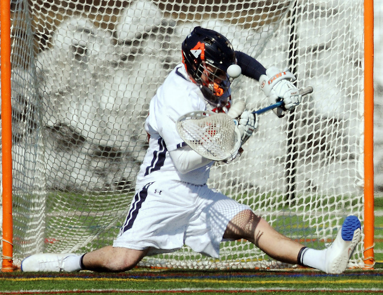 Hobart goalie Peter Zonino makes one of his 11 saves in the win.
