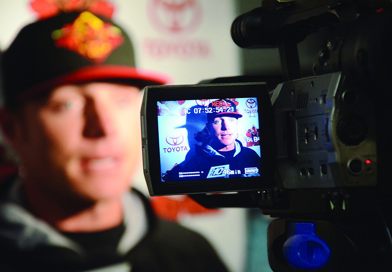 JACK HALEY/MESSENGER POST<br /> Rochester Red Wing infielder Luke Hughes, answers questions from the media about the upcoming season before a workout.