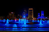 Downtown Jacksonville at night with the Blue Friendship Fountain. Had to shot directly into that light but you can see some stars. Used a 3.5 aperture in AV mode AEB +/-2. HDR no Photoshop Just Photomatix.
