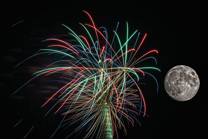 July 4th Fireworks and Full Moon