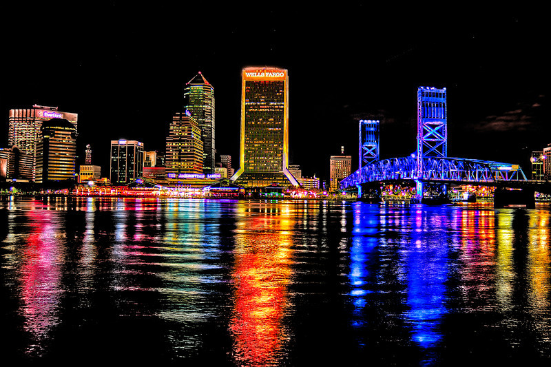 Downtown Jacksonville at night.Photomatix Nik Dfine 2, Viveza 2 Lightroom 5 beta 3rd in processing after using Nik collection Color Efex Pro 4 filters.