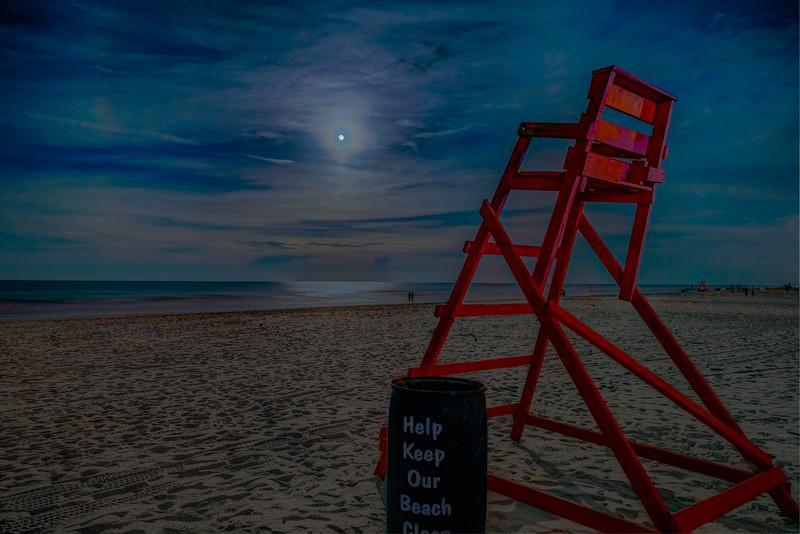 Moon's Loving Glow over Beach