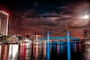 Rose Moon or Hot Moon June 23 2013 Jacksonville Florida North Bank to South Bank Via Main Street Bridge. Photomatix fused Lightroom 5.