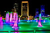 Friendship Fountain across the river from Downtown Jacksonville giving a rainbow show. AV 11 AEB +/- 2 Photomatix fused.