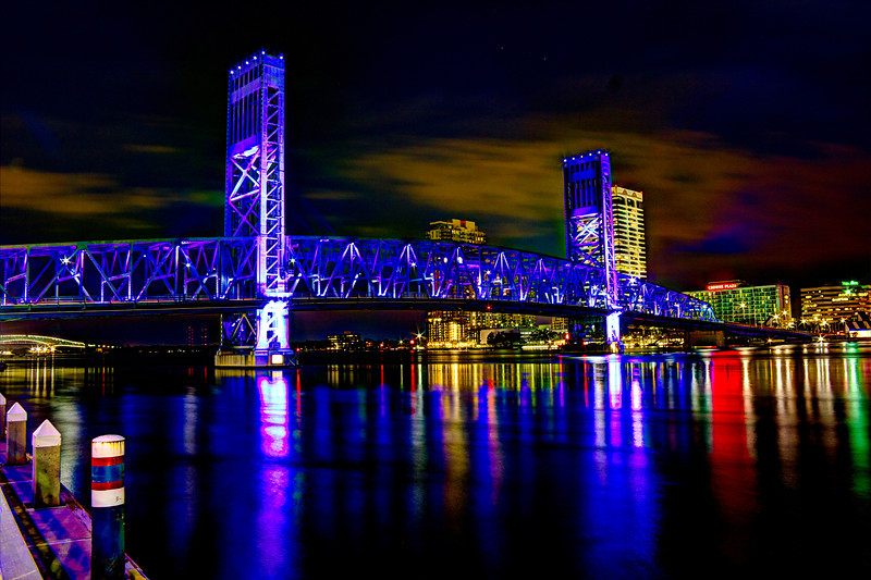 Downtown Jacksonville Florida Main Street Bridge west side. 18 mm AV 11 AEB +/-2 HDR fused Photomatix. Canon T2i