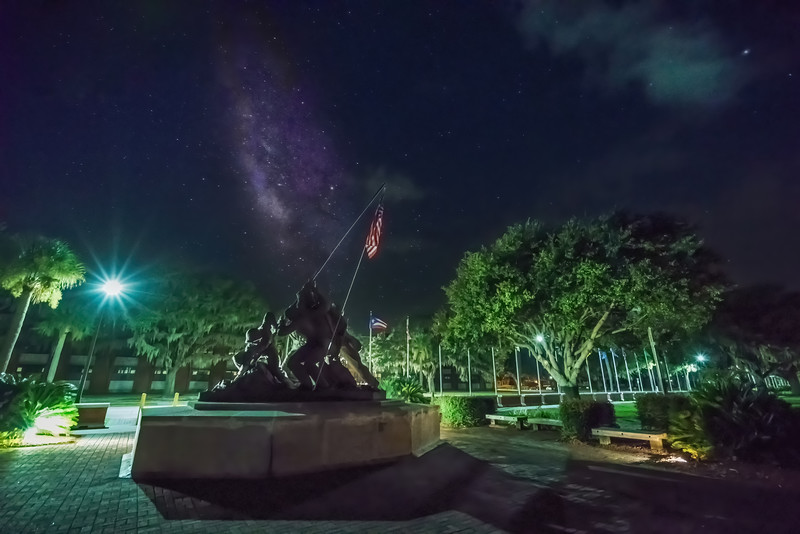 Iwo Jima statue and Milky Way