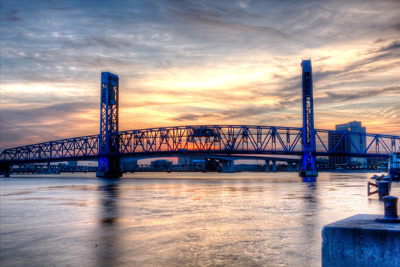 Main Street Bridge and Acosta Bridge at sunset. AV 25 AEB +/- 2.Photomatix HDR. I used a phone app TPE to find the spot with the correct Azimuth for this view and used Google maps building view to check multiple places and views, arrived 15 minutes before the sunset time stated in the app got set up and got this first of many photos along with monitoring the cloud cover during the day on a weather app satellite view. From what I saw driving there noway I could foresee these photos.