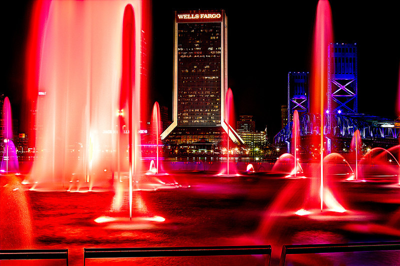 Red Friendship Fountain Downtown Jacksonville Florida across the river. AV 11 AEB +/-2 HDR Photomatix Canon T2i.