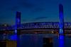 Main Street Bridge with Acosta Bridge, Jacksonville, FL at night, Blue under Blue. AV 11 AEB +/- 2 HDR Photomatix.