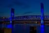 Main Street Bridge with Acosta Bridge, Jacksonville, FL at night, Blue under Blue. AV 11 AEB +/- 2 HDR Photomatix.
