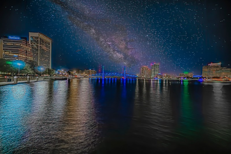 Downtown Jacksonville with Starry Sky
