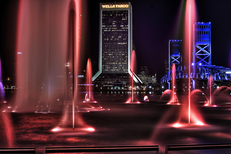 Jacksonville Florida Skyline Friendship Fountain red. Canon HDR.