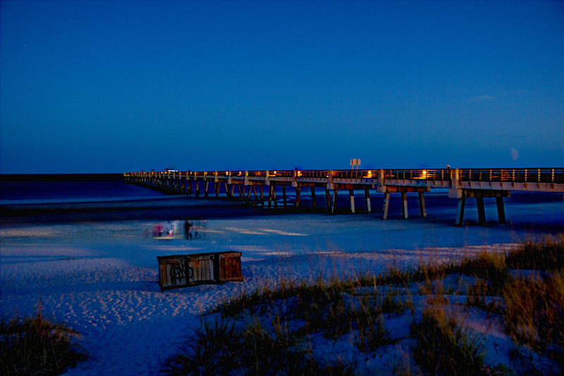 Jacksonville Pier at low tide with fun. HDR Fused.