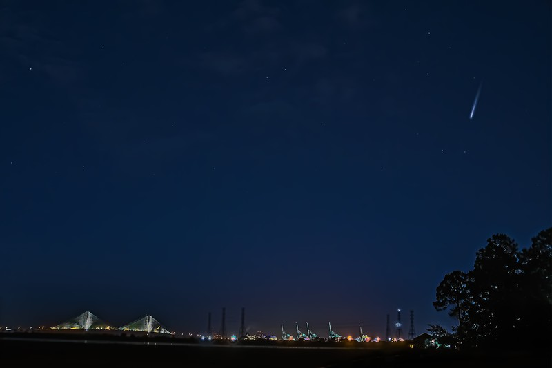 Comet Neowise, Dames Point Bridge, Container Way Dinosaurs, Power Towers and Setting Moon