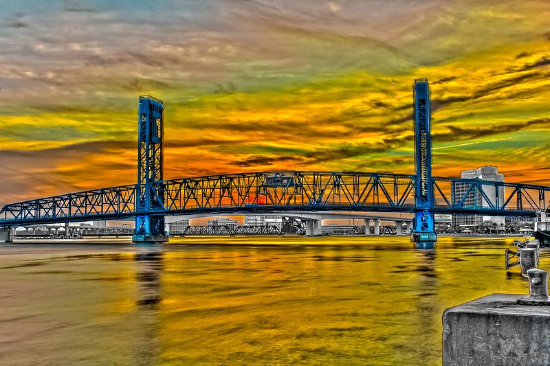 Blue Bridge Rainbow Sunset