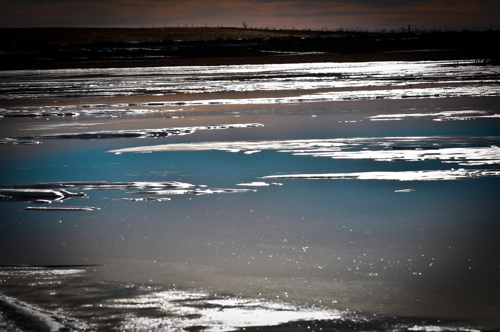 Water on the ice.......warm mid winter day