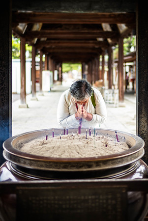 Pilgrim at the Zentsuji Temple (Kagawa  Prefecture, Japan)